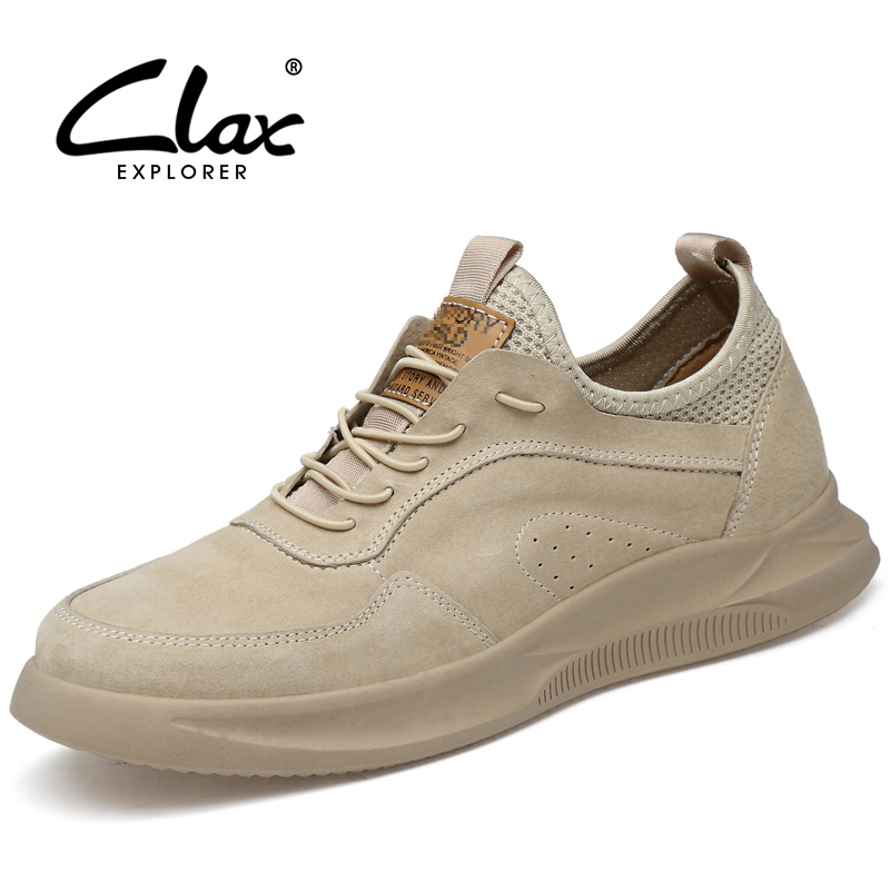 CLAX Mens Shoes Leather 2019 Spring Summer Casual Shoe Male Walking Footwear Fashion Man's Sneakers Suede Leather Soft