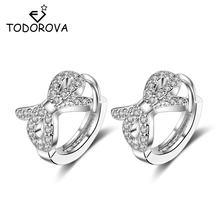Серьги кольца todorova с бантом и Фианитами круглые маленькие