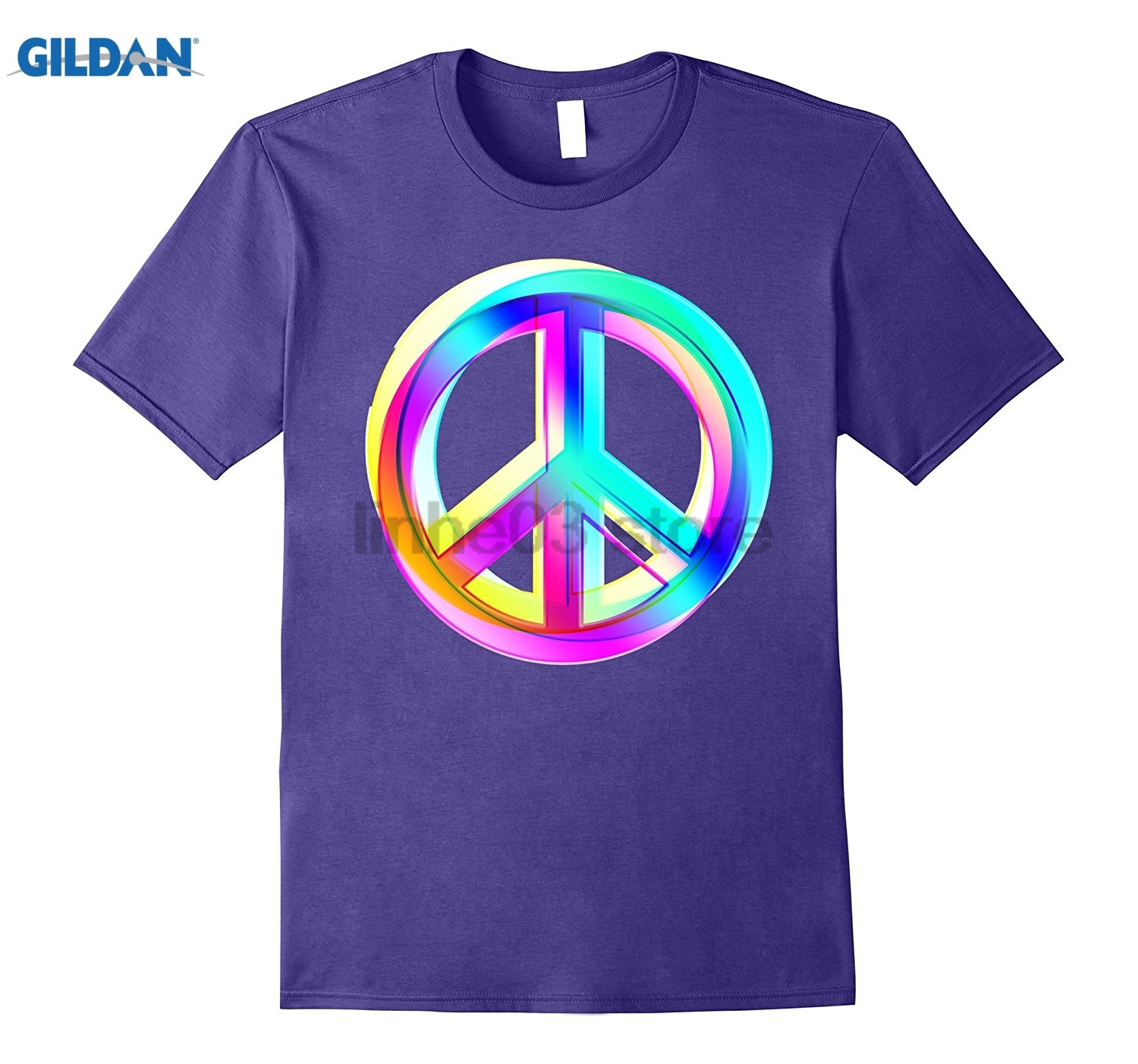 GILDAN Neon Colored Crossed PEACE signs T-Shirt Mothers Day Ms. T-shirt