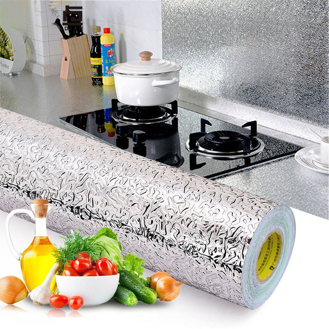 60x500cm 주방 방수 방수 스티커 알루미늄 호일 주방 스토브 캐비닛 자기 접착제 벽 스티커 DIY 바탕 화면