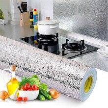 60x500cm mutfak yağı geçirmez su geçirmez çıkartmalar alüminyum folyo mutfak fırını dolabı kendinden yapışkanlı duvar Sticker DIY duvar kağıdı