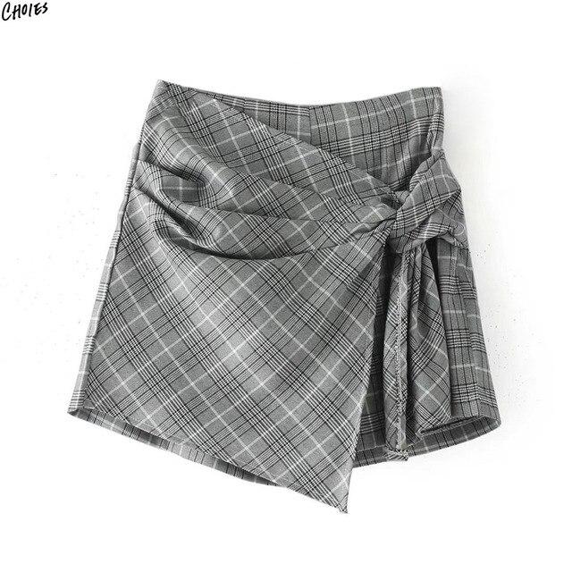 6f37a9285 € 29.71 |A Cuadros gris Nudo Asimétrico Wrap Shorts Faldas Mujeres  Elásticos de Cintura Alta de Nuevo con Bolsillos Laterales con Cremallera  ...