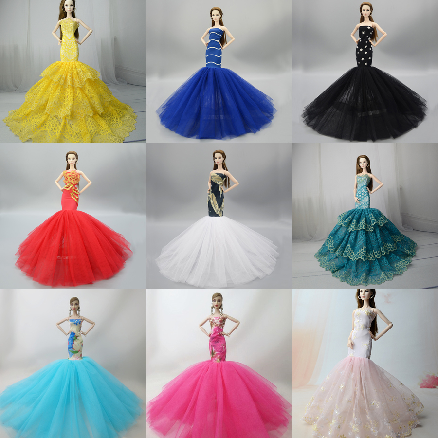 Fishtail Doll Dress / 9 Colors Mermaid Skirt Evening Wedding Dress Gown <font><b>Clothes</b></font> Outfit For <font><b>1/6</b></font> <font><b>BJD</b></font> Xinyi FR ST Barbie Doll image