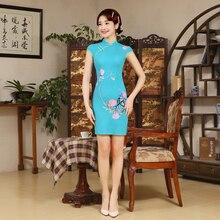 Shanghai Story Spring Summer Chinese Traditional Dress Linen/Polyester Vintage Cheongsam Women Qipao Short Cheongsam Party Dress
