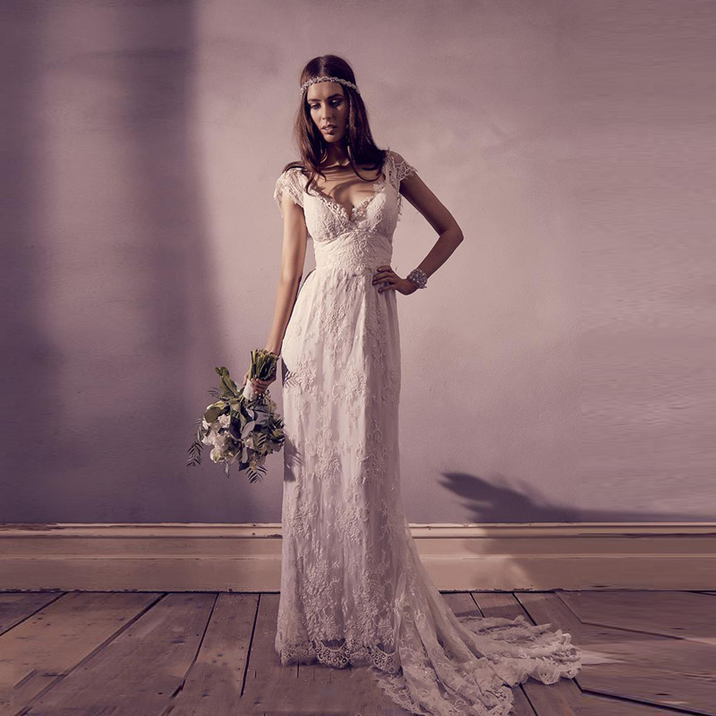 Top Quality 2019 Vintage Lace Bohemian Wedding Dress Sexy V Neck Cap Sleeves Backless Bridal Dress