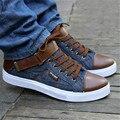Los hombres de Mezclilla casua lshoes Colores Mezclados Los Zapatos de lona de alta superior con cordones de pisos hombre invierno zapatos Mocassin chaussure hommes XK072813