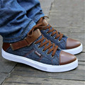 Men's Denim casua lshoes Mixed Colors canvas Shoes high top Lace-up flats man winter  shoes Mocassin chaussure hommes XK072813