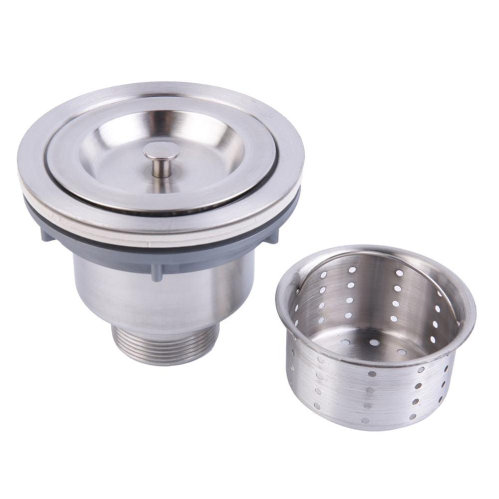 3-1/2 Inch Kitchen Sink Strainer With Removable Deep Waste Basket SUS 304 Stainless Steel Drain Assembly Escurridor De Pla