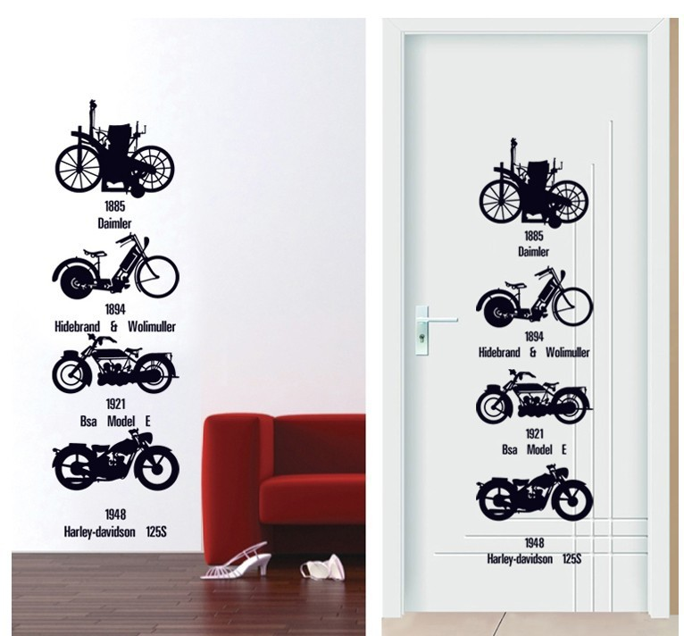 Good Motorcycle Wall Stickers Part - 6: Bike Motorcycle Development Wall Stickers For Home Decoration Mural Art  Poster Sofa And TV Background Wall