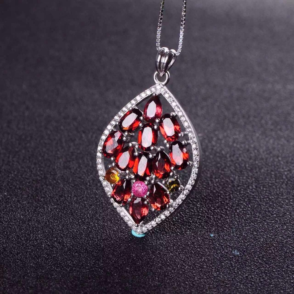 natural multicolor tourmaline pendant S925 silver Natural garnet Pendant Necklace trendy Luxury Flower Leaves women jewelry 60pcs lot 2017 retro key dry flower necklace natural wheat flower glass ball pendant jewelry accessory butterfly necklaces