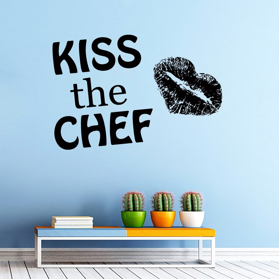 DCTOP Kiss The Chef Wall Sticker LadyS Lip Print Art Vinyl Removable DIY Hoem Decor