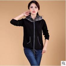 women jacket women winter coat Women's autumn and winter Korean version of the loose knit sweater coat free shipping