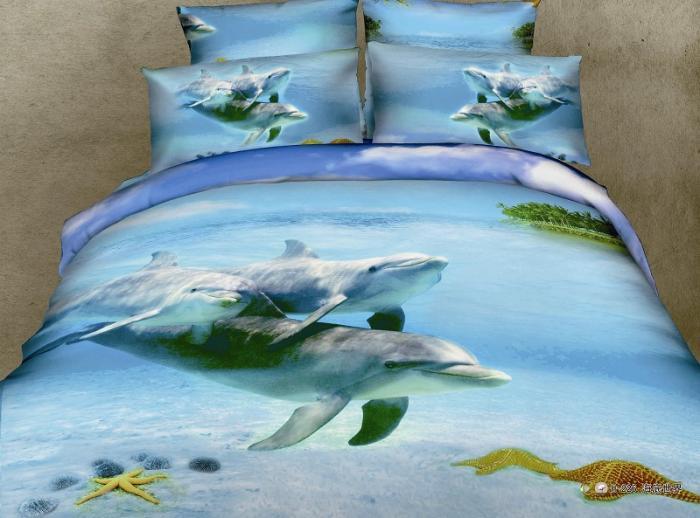 3d Dolphin Blue Ocean Bedding Sets Queen Size Duvet Cover