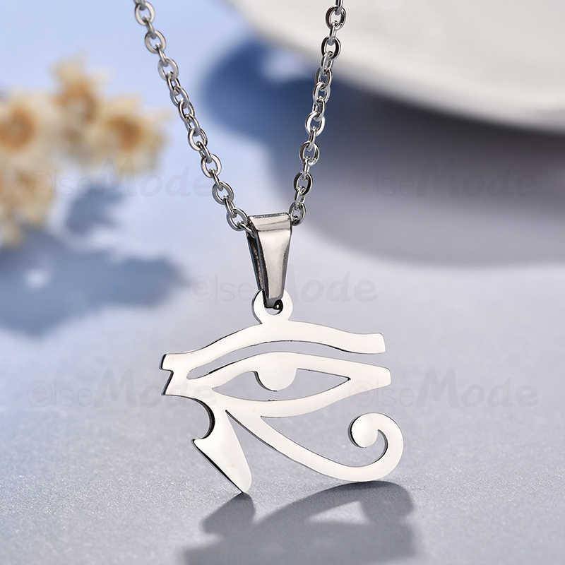 ELSEMODE Holy 316L нержавеющая сталь древний Египетский Глаз Гора Ожерелье Амулет для женщин мужчин золотой цвет серебра талисман ювелирные изделия