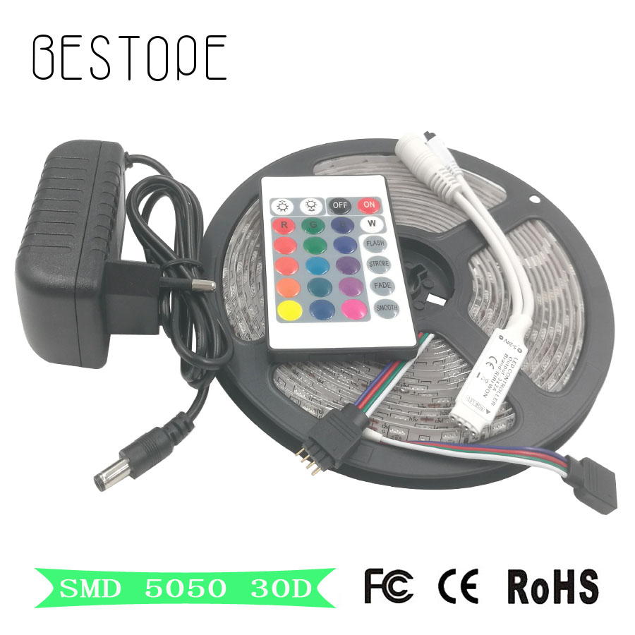 SMD RGB LED Strip Light Flexible SMD 5050 2835 Waterproof led tape diode Remote Controller DC12V Power Adapter Supply Driver set good group diy kit led display include p8 smd3in1 30pcs led modules 1 pcs rgb led controller 4 pcs led power supply