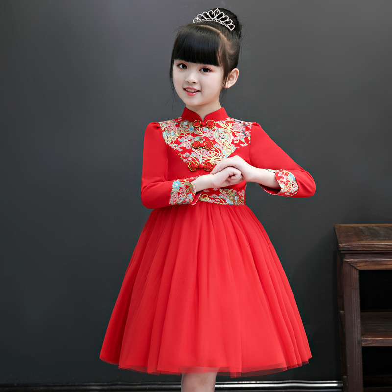 Autumn Fancy Christmas Dress Chinese New Years Princess Girl Clothing Cheongsam Flower Party Tutu Gown Girls Clothes