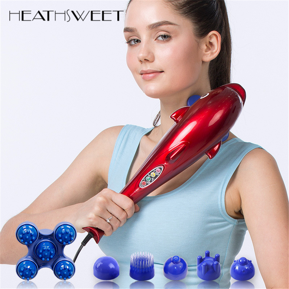 Healthsweet Electric Dolphin Massager Stick Back Massage Hammer Vibration Infrared Body Roller Cervical Vertebra Massager Device healthsweet 24k gold mini massage device electric eye massager facial vibration thin face magic stick anti bag pouch wrinkle pen