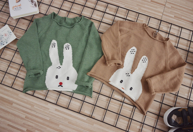 ins new 2017 baby girls boys spring cotton knitted thin sweaters rabbit pattern green & khaki colors 1-6Y fashion free shipping