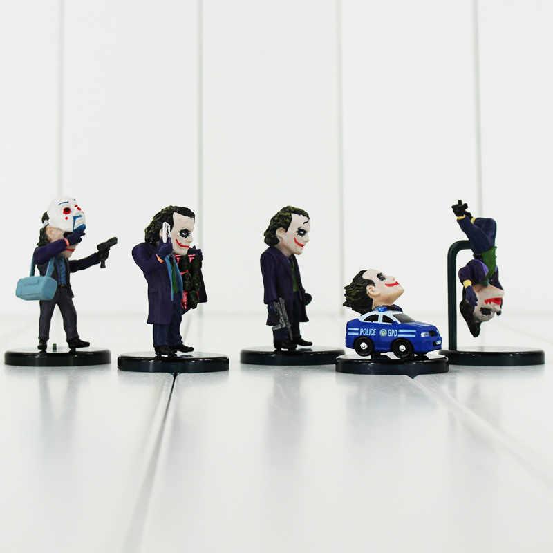 5 pçs/lote Superheroes The Joker Batman O Cavaleiro Das Trevas Coleção Toy Modelo PVC Action Figure Keychain