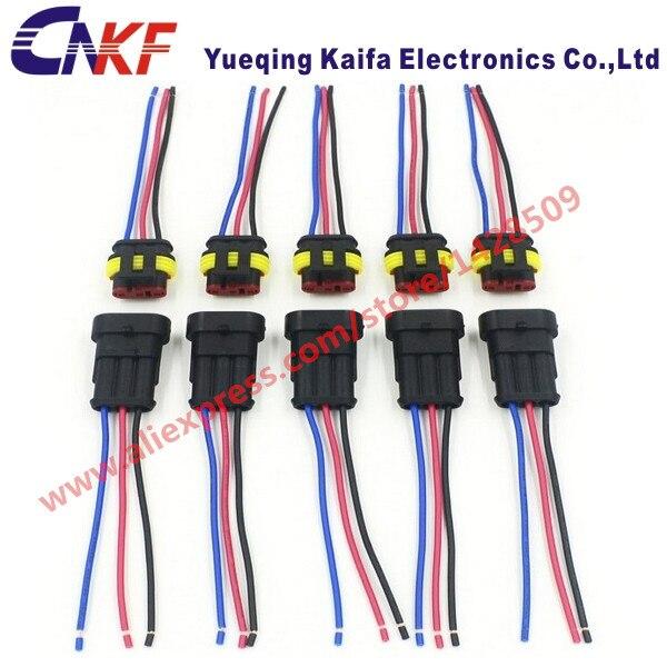 1 set tyco amp 3 way female male electrical connectors waterproof rh aliexpress com