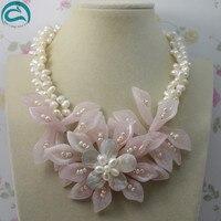 Уникальный жемчуг ювелирный магазин натуральный белый 3 строк пресноводного жемчуга нефриты цветок Цепочки и ожерелья идеально Для женщин