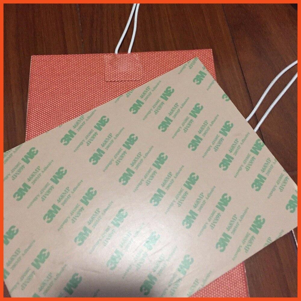 flessibile della gomma di silicone riscaldatore 120v 400*400mm oil heater silicone heating pad for oil heater film heat electric silicone pad riscaldatore 220 v 800 w dia 500mm con 3m adesivo abd 100k termistore oil silicone heater film heat electric heater