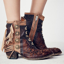 2017 New Side Zipper Tassel Decoration Shoes Round Toe And Ankle Retro Leather Boots Fashion Totem Women Spring Autumn Boots