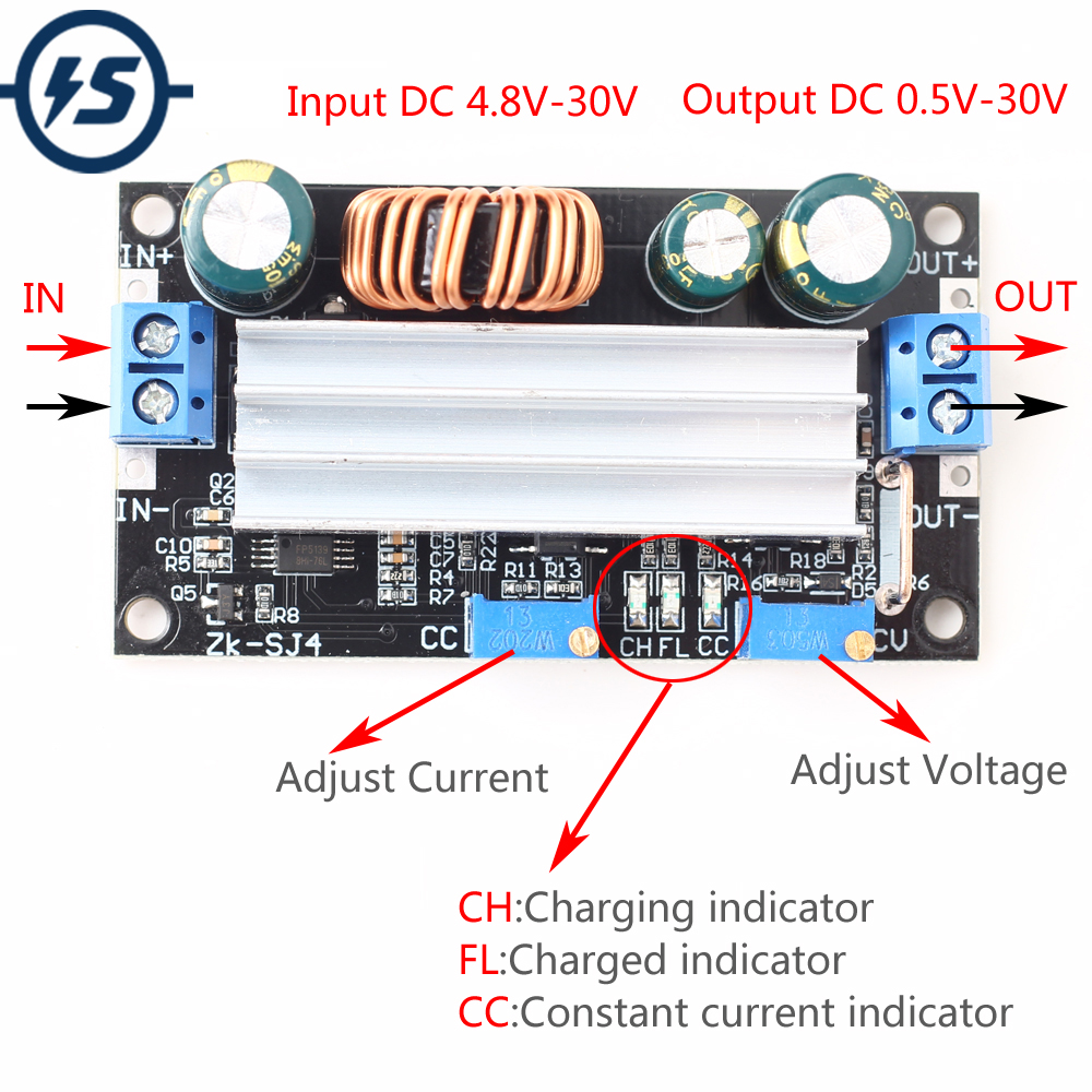 DC DC Voltage Boost Buck Converter 4.8-30V Solar Charger Charging Controller Adjustable Step-Up / Down Automatic Power Module
