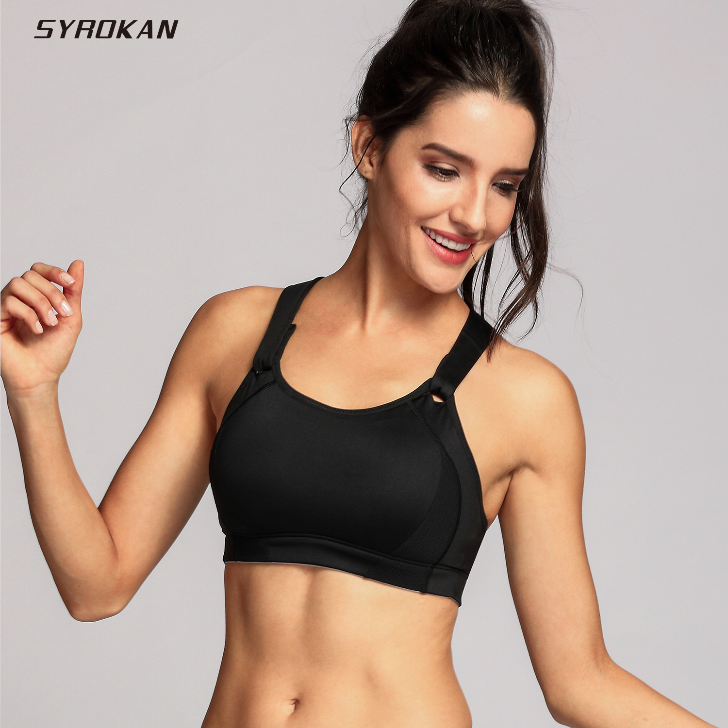 SYROKAN Women's Wire Free High Impact Full Coverage Padded Sports Bra image