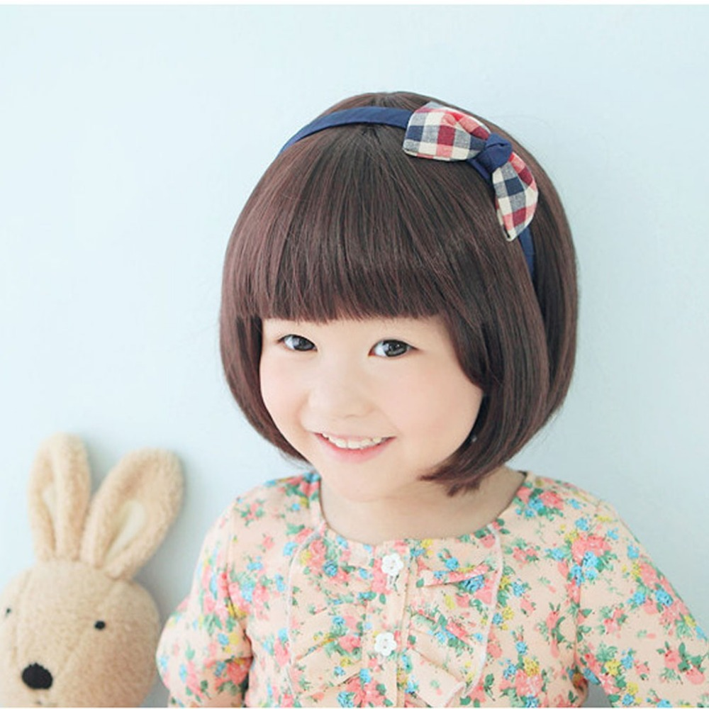 Fashion Black Straight Wigs For Kids Child Flat Bangs Synthetic Bob