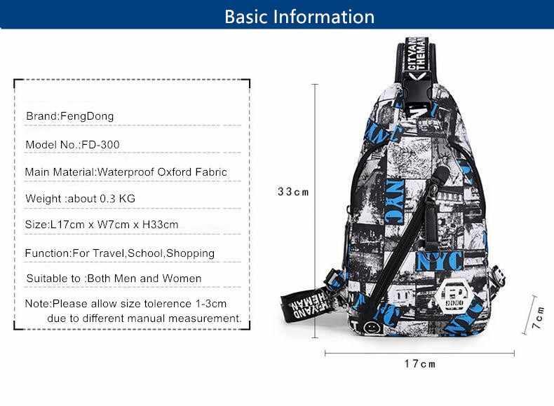 FengDong azul camuflaje hombre pecho bolsa impermeable oxford tela un hombro mujeres bolsas de viaje hombres casual Sling Crossbody bolsa