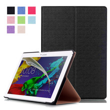 Tempered Glass Screen Protector Film + PU Leather Cover Case for Lenovo Tab 2 A10 A10-30 A10-30F (Tab2 A10 30 X30F) 10.1″ Tablet