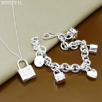 925 Silver Color Lock Pendant Bracelet Necklace Classic Luxury Jewelry Necklace Bracelet For Women Men