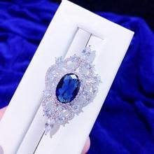 ASNORA  Zircon azul medalla broche hombres y mujeres temperamento salvaje simple traje ropa pin con broche de joyeria