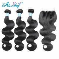 Alisky Haar Brasilianische Körper Welle 3 Bundles Mit Spitze Verschluss 100% Remy Menschliches Haar Bundles Mit Verschluss 4*4 menschliches Haar Weben