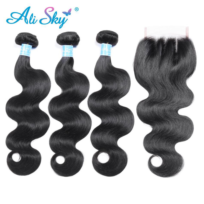 Alisky Hair Brazilian Body Wave 3 Bundles With Lace Closure 100% Remy Human Hair Bundles With Closure 4*4 Human Hair Weave