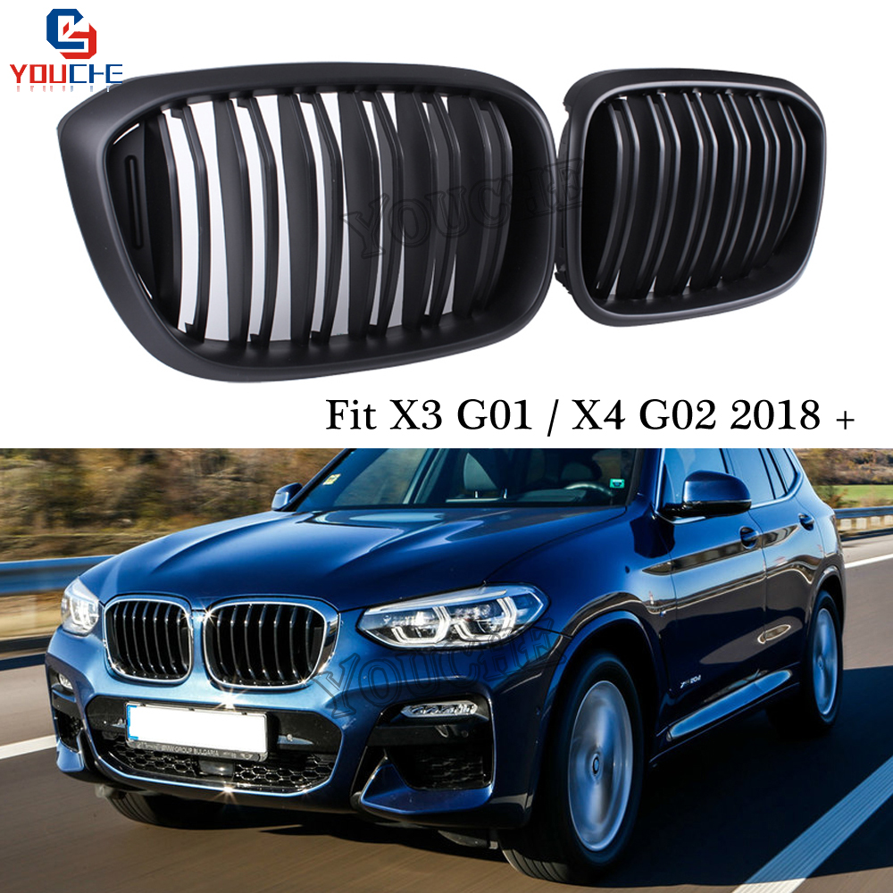 Front Kidney Grille Bumper Grills Mesh for BMW X3 G01 & X4 G02 2018 2019 New X3 X4 Version Gloss Black / Matte black Grill