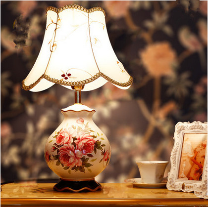 Chinese style classical flower bird pattern ceramic Table Lamps Beautiful embroidered art E27 LED lamp for bedside&foyer ZLTD065 flower and bird pattern colorful pillow cover