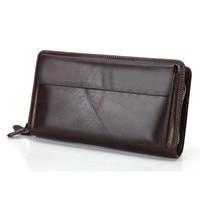 Double Zipper Layers Genuine Leather Men Clutch Bag Vintage Real Cow Leather Long Men Wallets Big Volume Purses Mobile Bag