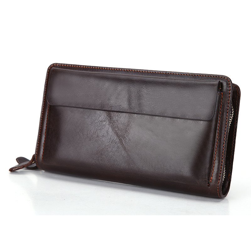 цена Double Zipper Layers Genuine Leather Men Clutch Bag Vintage Real Cow Leather Long Men Wallets Big Volume Purses Mobile Bag