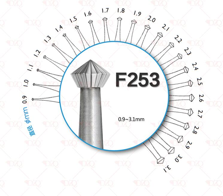 Free Shipping Diamond Polishing Engraving Twist Drill Burs Tool Jewelry Burs Different Size Hand Tool Stone Setting Bur 6pcs/lot