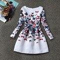 Crianças Floral Rose Borboleta Impressão Vestidos para Meninas Vestido de Princesa Da Primavera Menina Vestido de Casamento Crianças Vestido de Festa Meninas Roupas