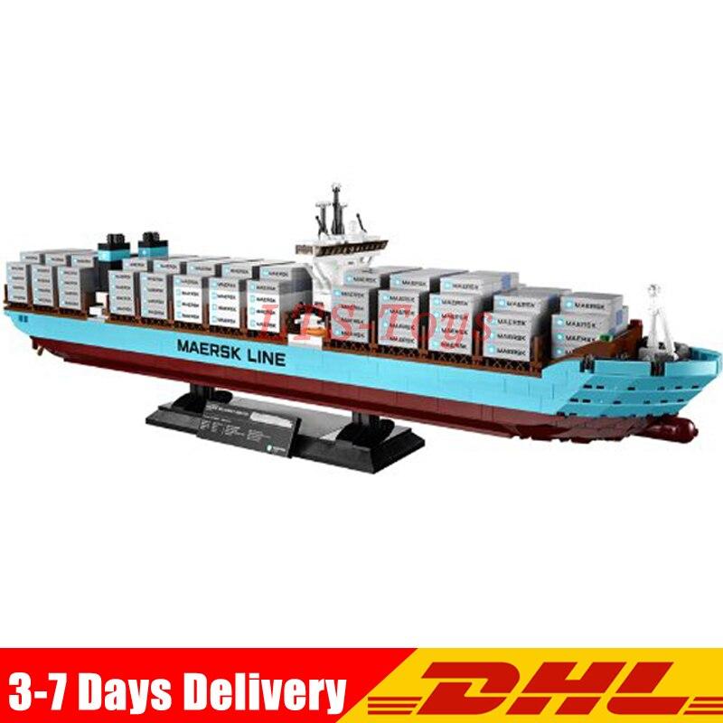 Lepin 22002 Serie Technic La Maersk Contenitore di Carico La Nave Set Legoings 10241 di Costruzione FAI DA TE Blocchi Mattoni Giocattoli Educativi BAMBINO