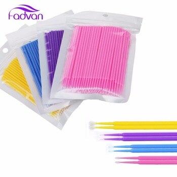 Fadvan 100 części/partia jednorazowe pędzle do makijażu indywidualne rzęsy Micro Brush sztuczne rzęsy do przedłużania narzędzia aplikatory Mascara Brush