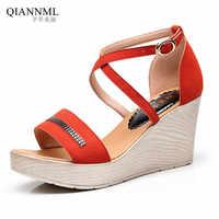 Quality Solid Women's Platform Sandals 2019 New Wedge Heels Gladiator Sandals Women Summer Shoes Plus Size 41 42 43