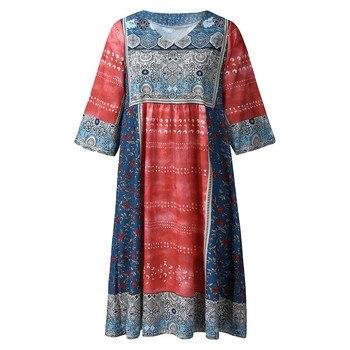 dress women Sexy Mini Dress Fashion Bohemian Party Print  V Neck Plus Size Loose Casual Mini Dress Y715 3