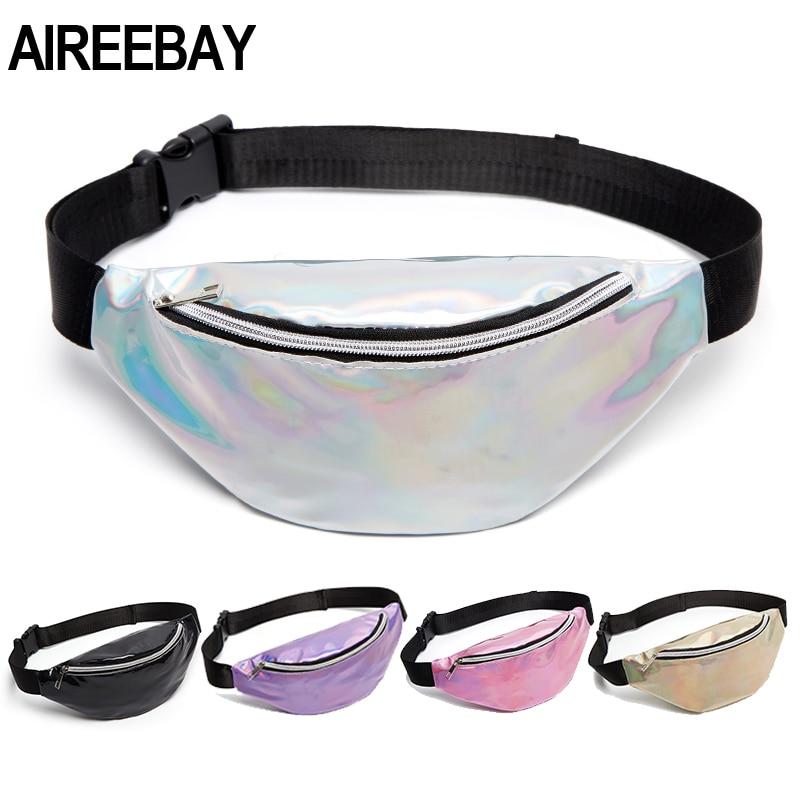 AIREEBAY 2019 New Holographic Waist Bag For Women Pink Gold Black Laser Fanny Pack Belt Bag Ladies Bum Bag Unisex Banana Bags