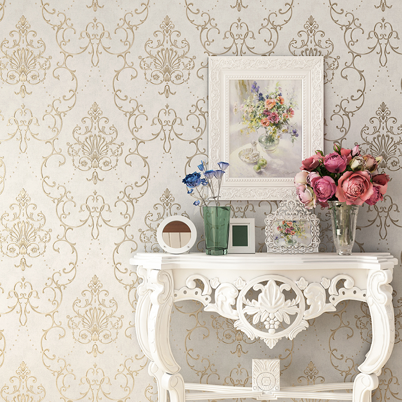 3d Wallpaper Rolls Murals thick for tv background Damask Flocking 3d wall wallpaper Home Decor 3d Wall paper for livinr Room 7 colors optional beige floral wallpaper damask wallpaper pvc wall murals free shipping best wallpaper qz0314