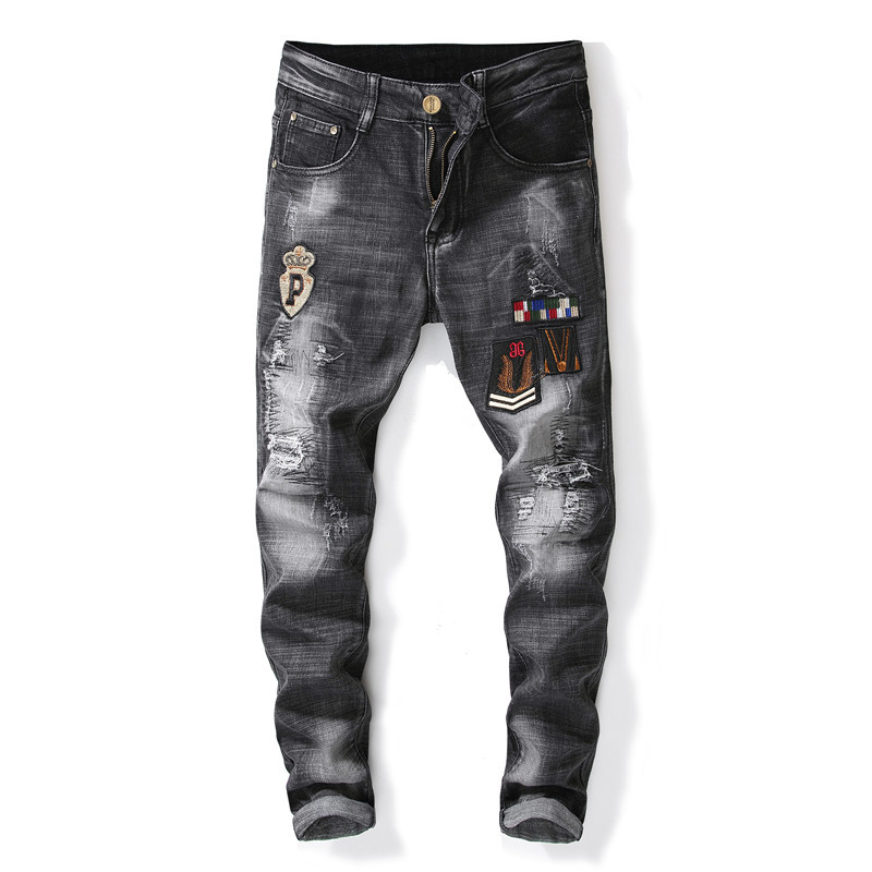 ABOORUN Fashion Mens Skinny Ripped Jeans Black Patchwork Pencil Denim Pants Mens Brand Urban Jeans x1042