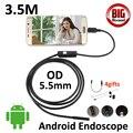 5.5mm Android OTG USB Câmera Endoscópio 3.5 M Tubo Flexível Cobra Câmera de Inspeção Borescope USB OTG Telefone Inteligente Android 6LED